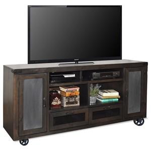 "76"" TV Console with Bottom Wheel Design"