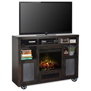 "62"" Fireplace Console with Bottom Wheel Design"