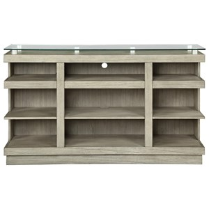 """Contemporary 65"""" TV Cart with Glass Top"""