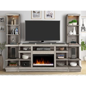 Contemporary Entertainment Wall Unit with Fireplace Console