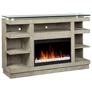 "Contemporary 65"" Fireplace Console with Glass Top"