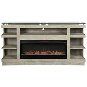 """Contemporary 74"""" Fireplace Console with Glass Top"""