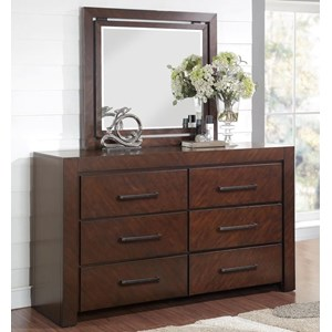 Six Drawer Dresser and Mirror with Wood Frame