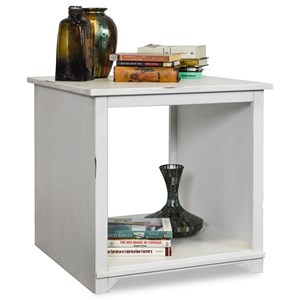 Casual Square End Table with Lower Shelf