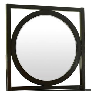 Round Mirror with Square Wood Frame