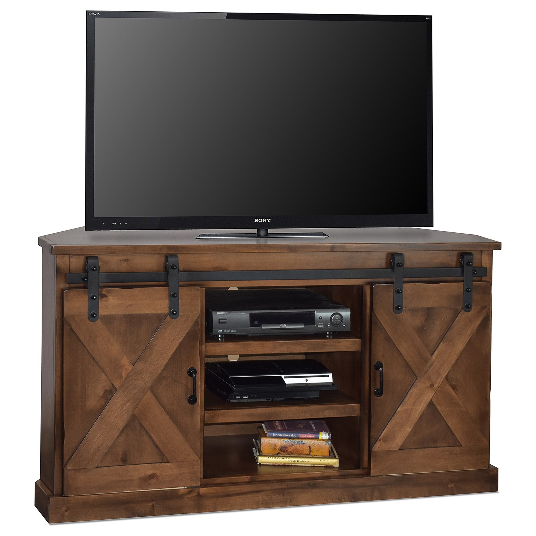 """Farmhouse Collection 56"""" Corner TV Console by Legends Furniture at VanDrie Home Furnishings"""