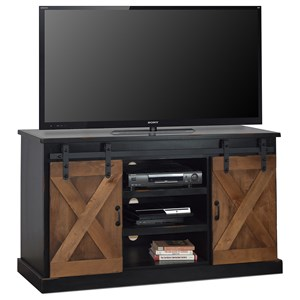 "Farmhouse 56"" TV Console with Industrial Accents"