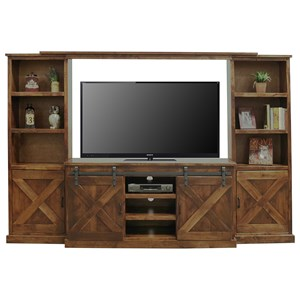 Rustic Entertainment Wall Unit with Sliding Doors
