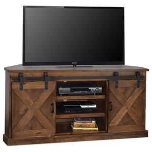 "66"" Corner TV Console with Sliding Doors"