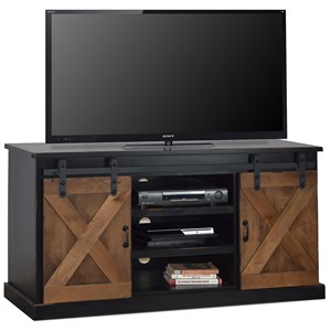 """Farmhouse 66"""" TV Console with Industrial Accents"""