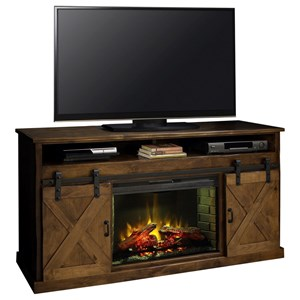 "66"" Fireplace Console with Sliding Doors"