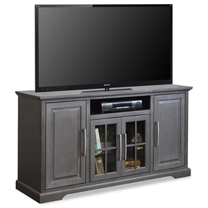 """Transitional 64"""" TV Console with Glass Doors"""