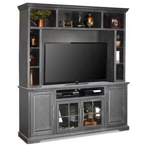 Transitional Entertainment Wall Unit with Glass Doors