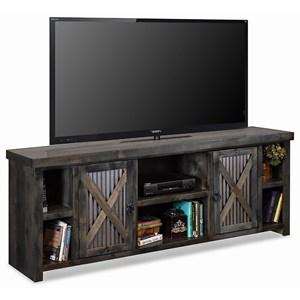 Rustic 85 Inch TV Console with Metal Door Panels