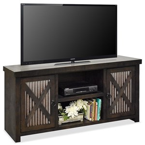 Rustic 65 Inch TV Console with Metal Door Panels