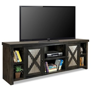 Rustic 85 Inch TV Console with Metal Door Panels