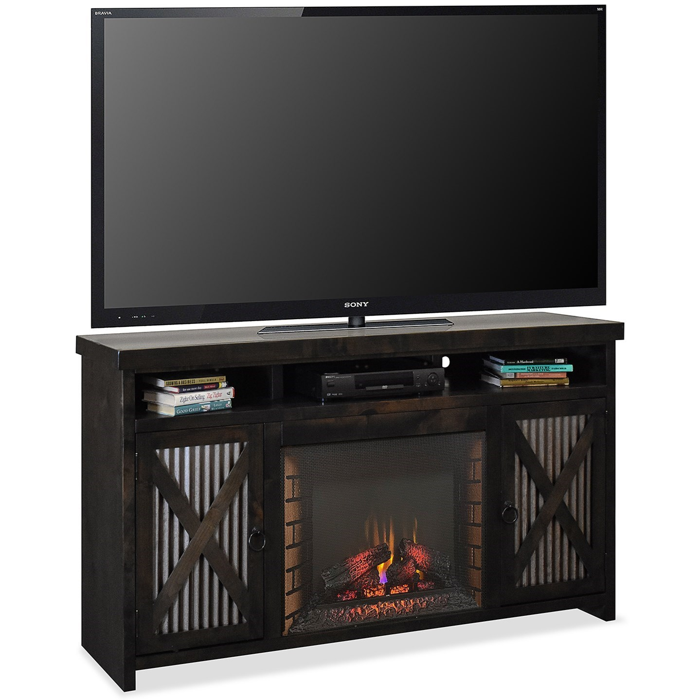 Jackson Hole Fireplace Console by Legends Furniture at EFO Furniture Outlet