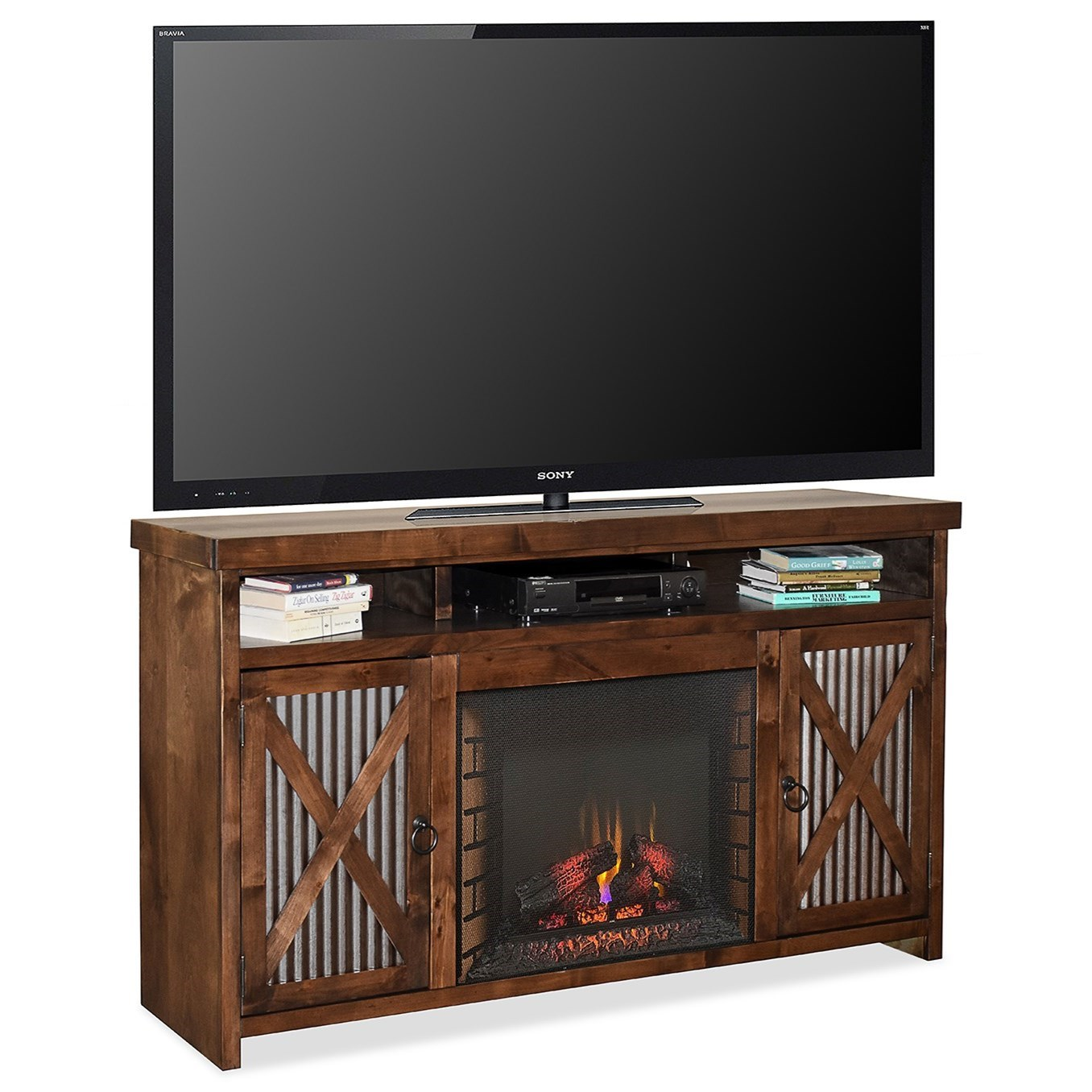 Jackson Hole Fireplace Console by Legends Furniture at Home Furnishings Direct