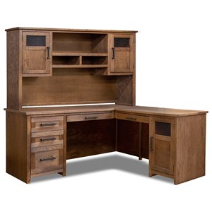Contemporary L-Shaped Desk with Hutch
