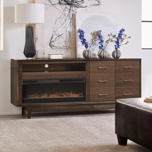 """Contemporary 6 Drawer 84"""" Fireplace Console"""
