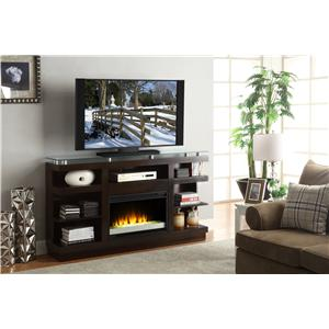 65 Inch Media Console with Glass Top and Electric Fireplace
