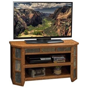 "Oak 42"" Angled TV Cart"