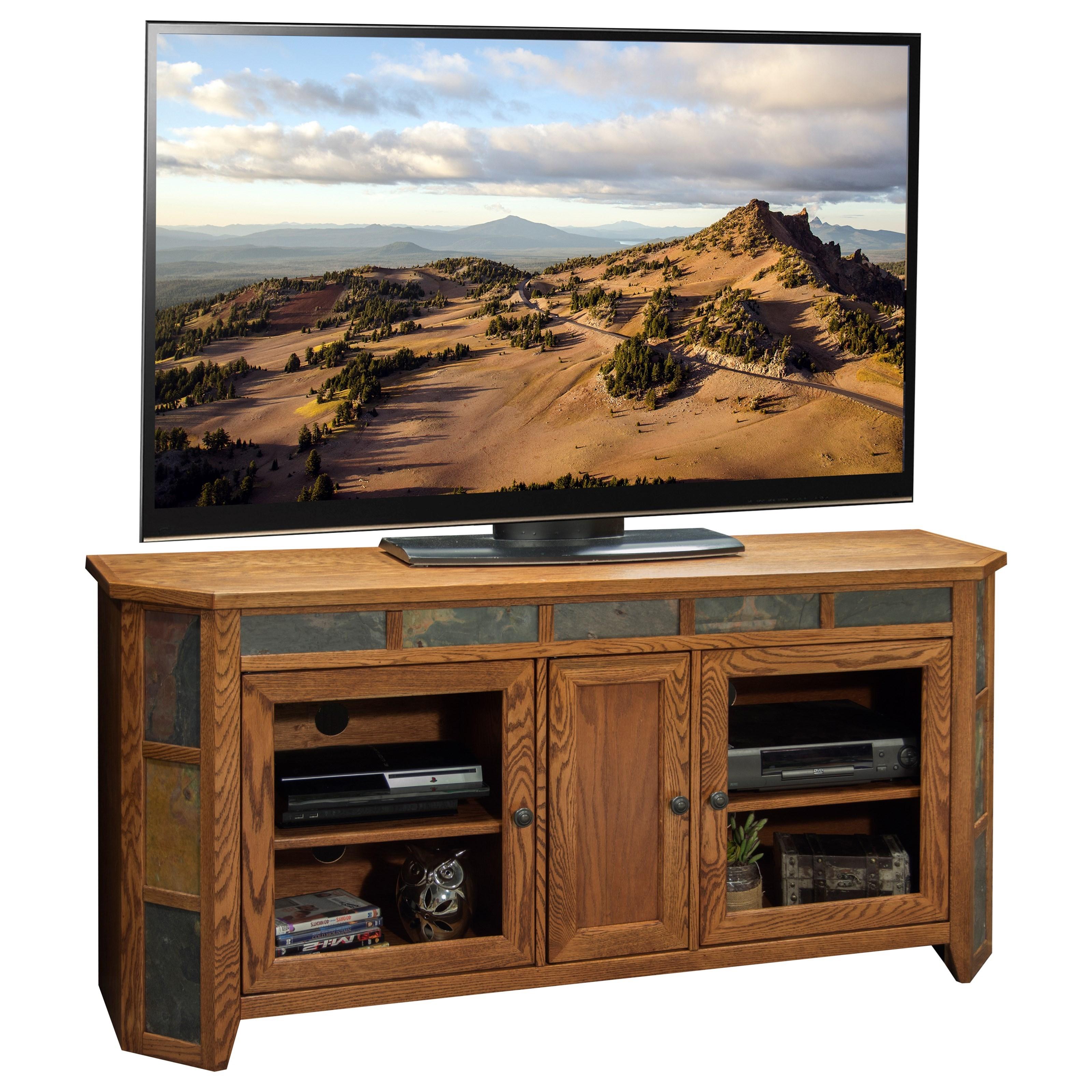 """Oak Creek 62"""" Angled TV Cart by Legends Furniture at Miller Home"""
