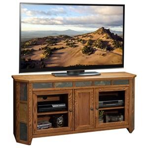 "Oak 62"" Angled TV Media Cart"