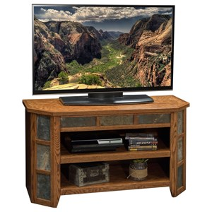 """Rustic 42"""" Angled TV Cart with Stone Tile Accents"""