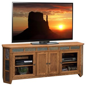 "Rustic 72"" Angled TV Console with Stone Tile Accents"