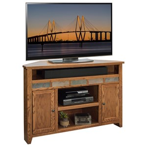 "Rustic 56"" Corner TV Cart with Stone Tile Accents"