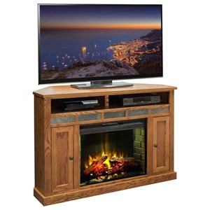 """Rustic 56"""" Corner Fireplace with Stone Tile Accents"""