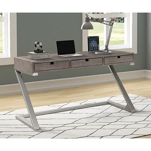 Contemporary 3-Drawer Desk with Power Outlet and USB Ports