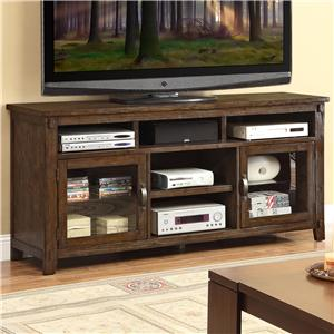 "Rustic Casual 72"" TV Console with Glass Doors"