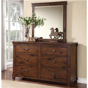 Rustic 6 Drawer Dresser and Mirror