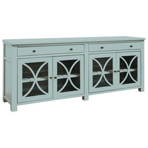 """Casual 62"""" TV Console with Glass Cabinet Doors and 4 Shelves"""