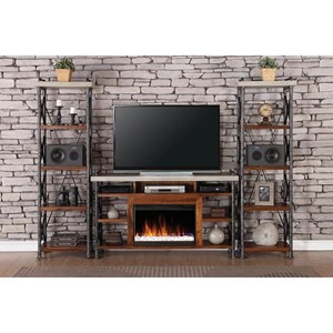 Legends Furniture Steampunk Collection Industrial Fireplace Entertainment Unit