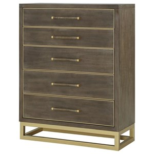 Contemporary Chest of Drawers with Brass Metal Base
