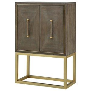 Contemporary Bar Cabinet with Brass Metal Base