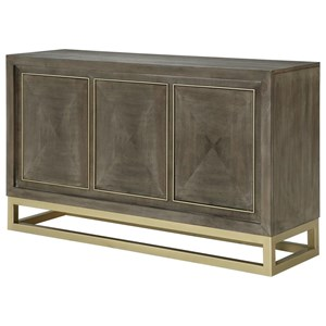 Contemporary Buffet Table with Brass Metal Base