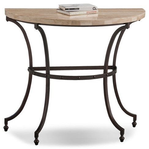 Travertine Demilune Console Table by Leick Furniture at Lucas Furniture & Mattress