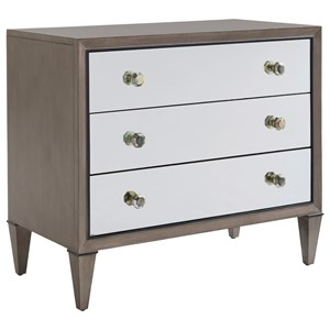 Divonne Mirrored Nightstand with Abalone Drawer Pulls