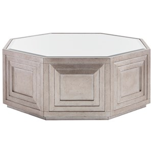 Rochelle Octagonal Cocktail Table with Silver Leaf and Mirrored Top