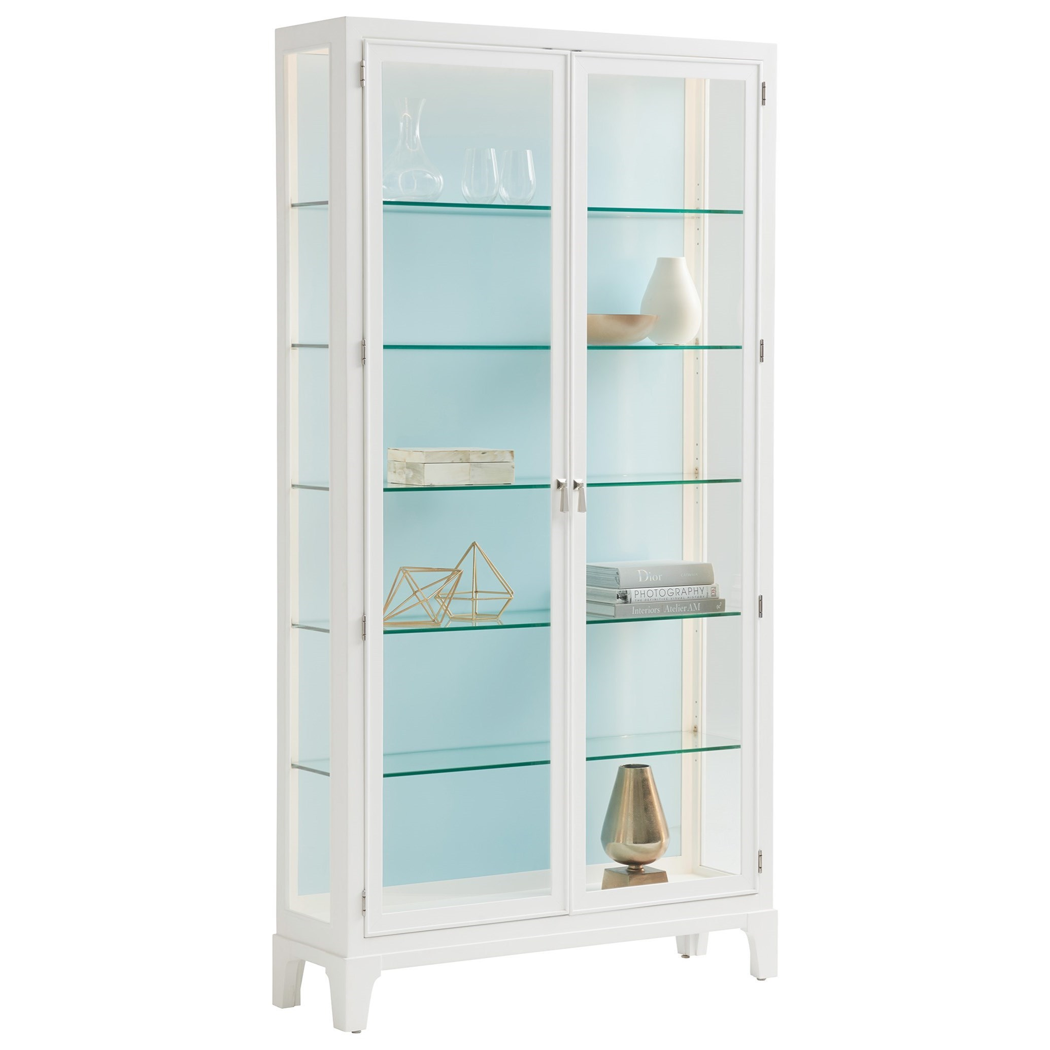 Avondale Lakeshore Curio Sky Blue Back Panel by Lexington at Fisher Home Furnishings