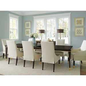 Transitional 9-Piece Dining Set with Manhattan Table and Monarch Upholstered Chairs