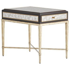 Millbrook 1-Drawer End Table with Antiqued Mirror Top