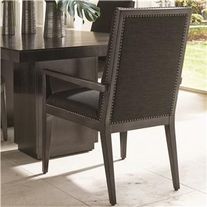Vantage Quickship Upholstered Arm Chair with Gray Mist Fabric and Nailhead Studs