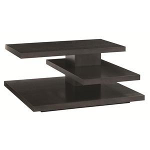 Evora Square Cocktail Table with Cantilever Shelves