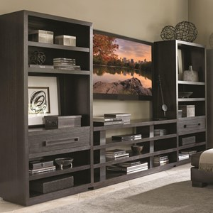 Entertainment Wall Unit with Elise Console Table and Adjustable Shelving in Bookcases