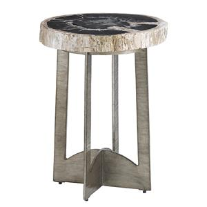 Cross Creek Petrified Wood Table with Burnished Silver Base